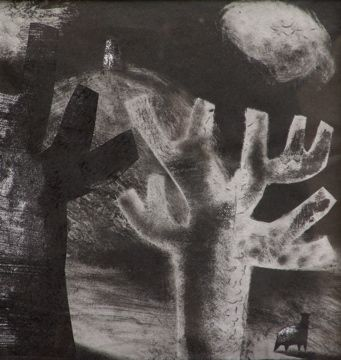 """""""The Ghost of a Sheep III"""" by Clive Hicks-Jenkins (monoprint/collage)"""