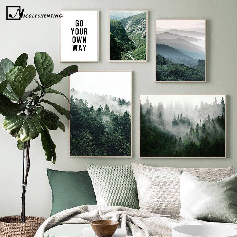 Mountain Forest Landscape Wall Art Canvas Poster Nordic Print Skandinavian Decor