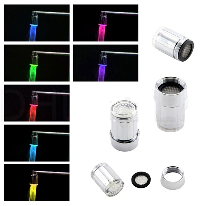 Free Shipping 7 Colors Slow Flash Lighted Bathroom Faucets With Blister  Package With Adaptors
