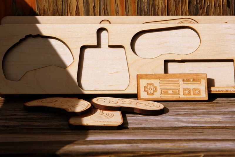 Retro Game Controller Solid Maple Puzzle- Ready to Ship. $25.00, via Etsy.