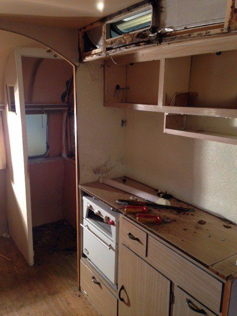 Working On A New Caravan Project This Week Classic 1966 Safari 13 4 Caravan Some Inside Shots As We Rem Double Wall Oven Kitchen Appliances Kitchen Cabinets