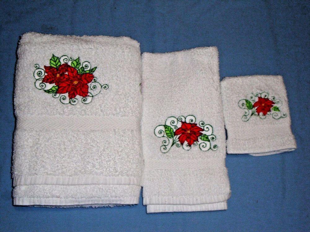 NEW 3 Piece Embroidered Bath Towel Set 1 Bath Towel,1 Hand Towel,1