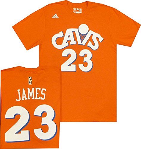 2f6cab3631ed Cleveland Cavaliers Lebron James Adidas Orange Hardwood Classic Throwback  Jersey T Shirt (Large)
