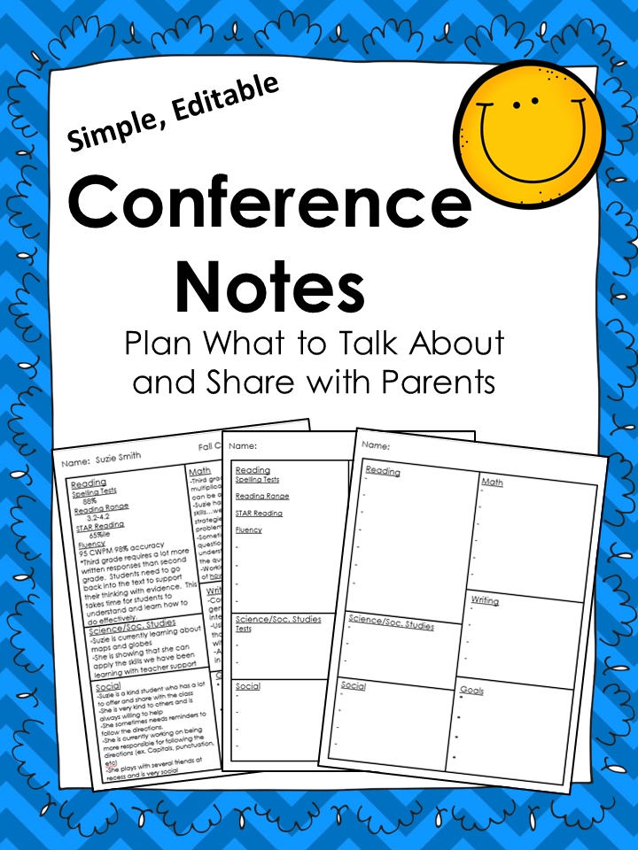 Conference Note Forms Simple Editable  Teacher Conferences