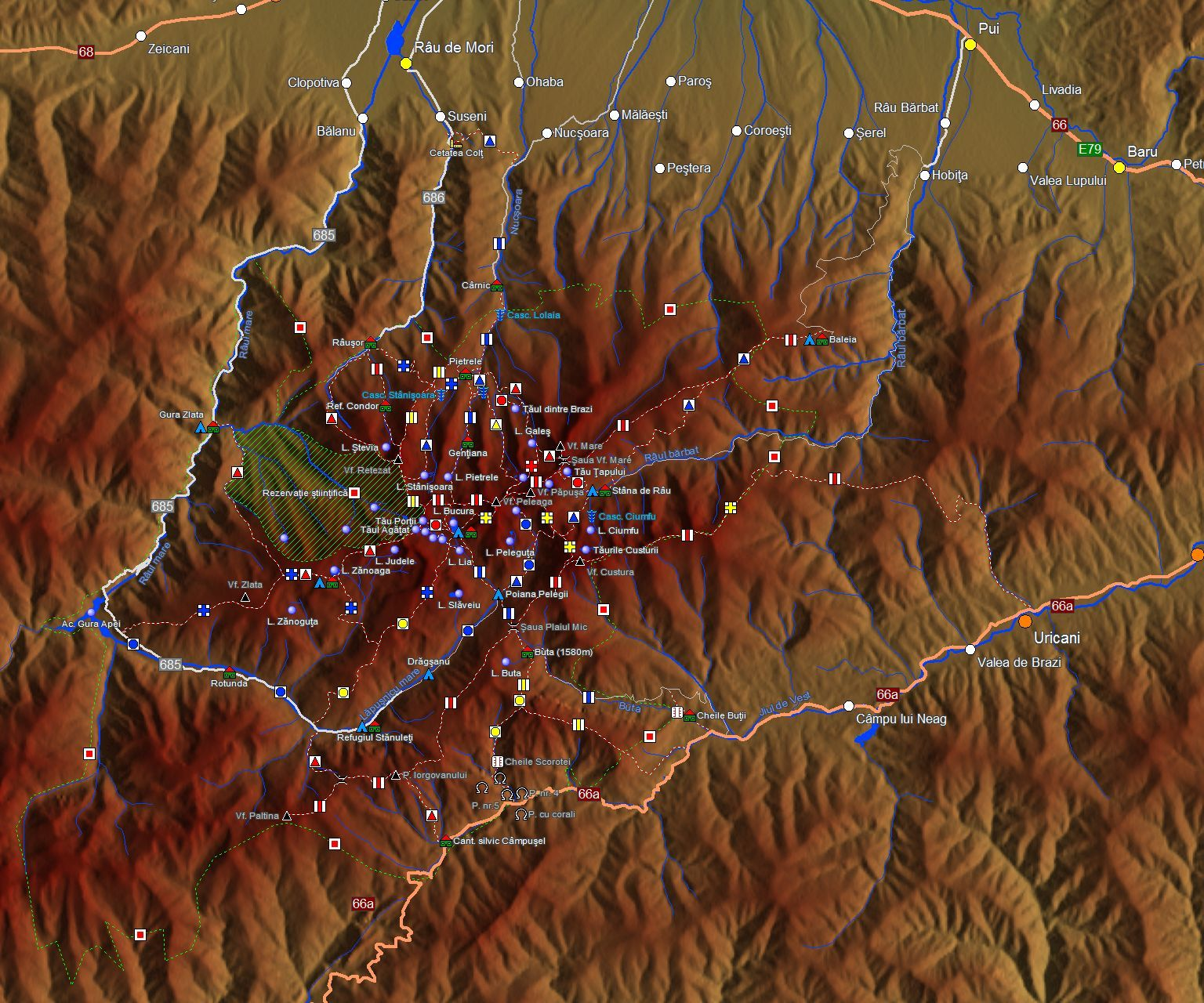 Muntii Retezat Harta Interactiva Trasee Marcate Si Obiective