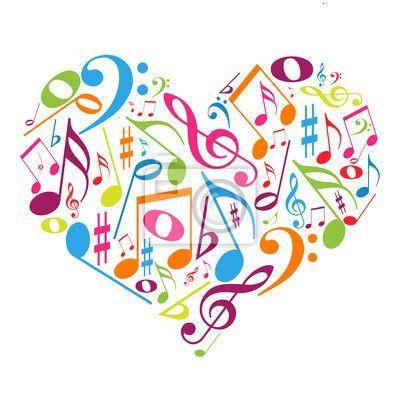 Coração colorido com notas musicais gosto pela música sticker • pixers • we live to change music images cello and instruments