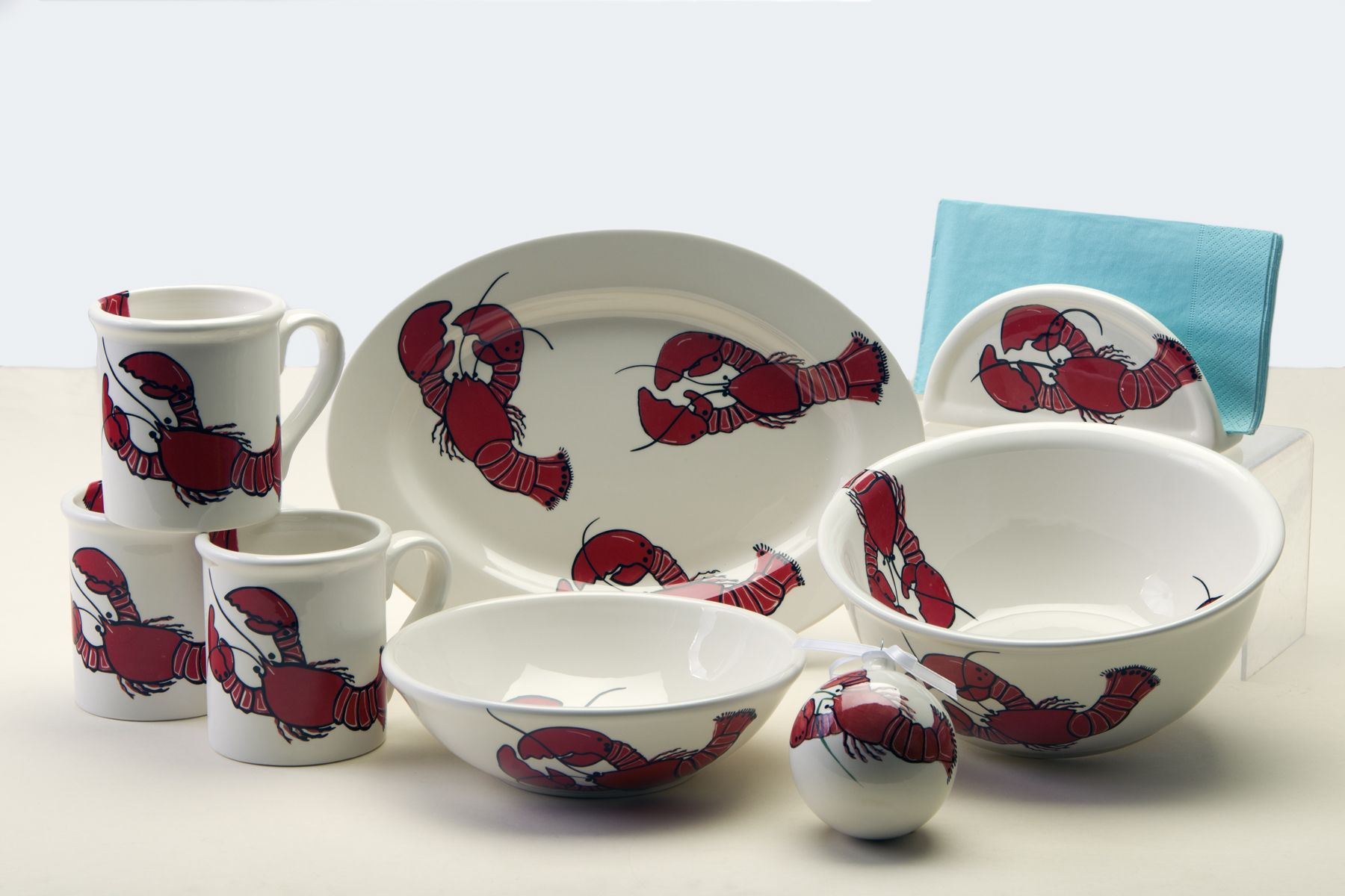 Lobster Dinnerware Red and white dishes, lobster dishes