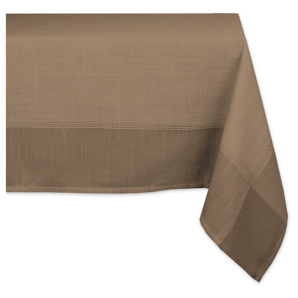 brown polyester border tablecloth 60x104 design imports