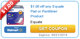 1 00 Off Any Equate Pad Or Pantiliner Product Free Printable Coupons Printable Coupons Coupons