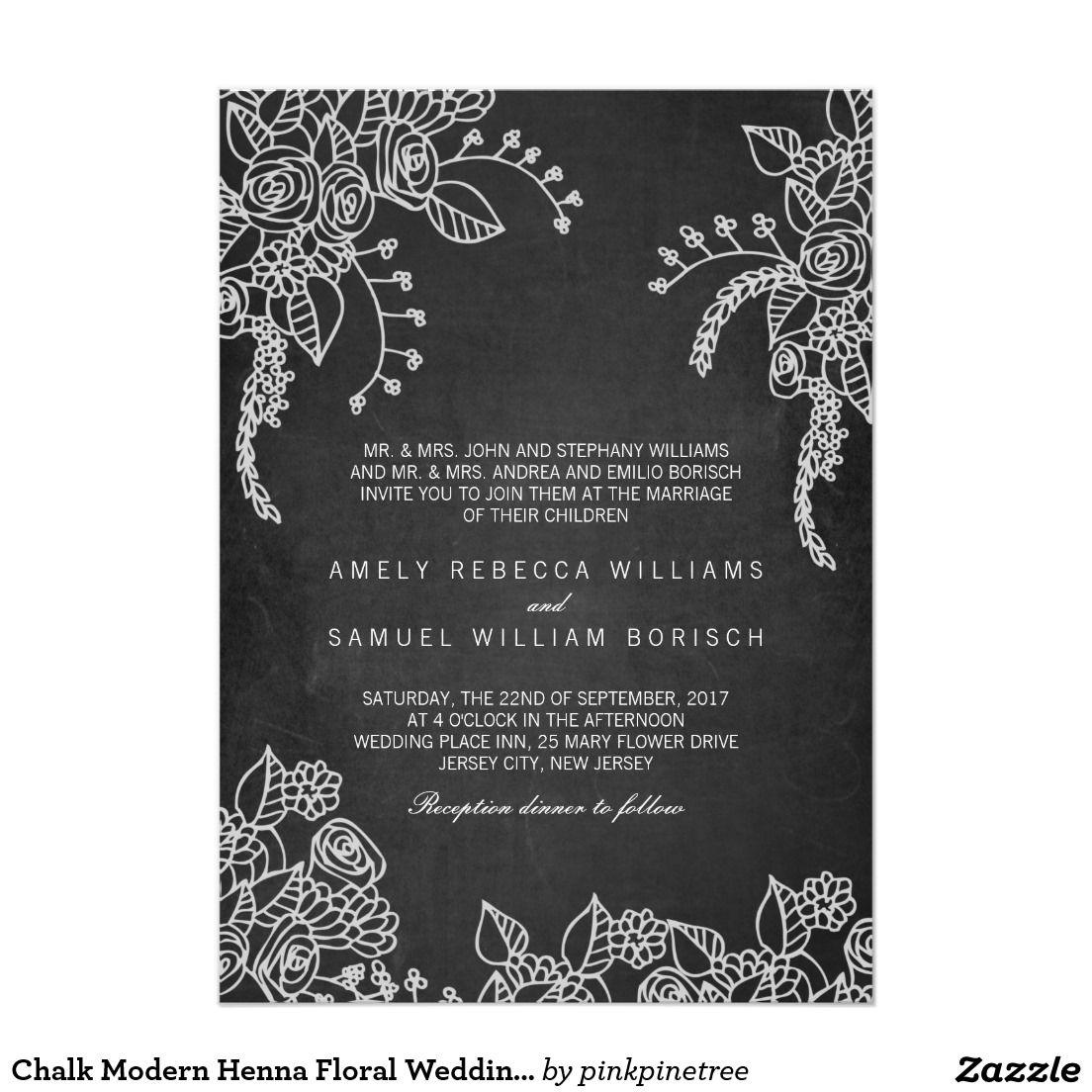 372b2f8d1711 Chalk Modern Henna Floral Wedding Invitation
