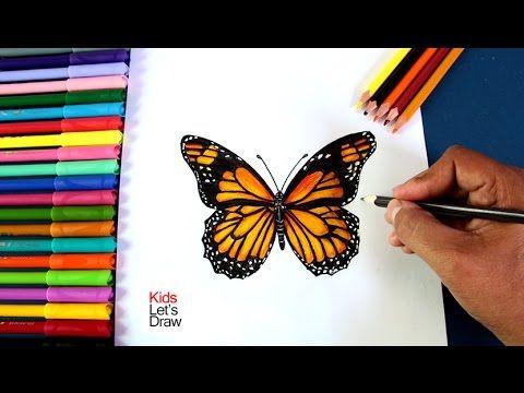 Como Dibujar Una Mariposa Monarca En 3d Youtube Pintar Piedras