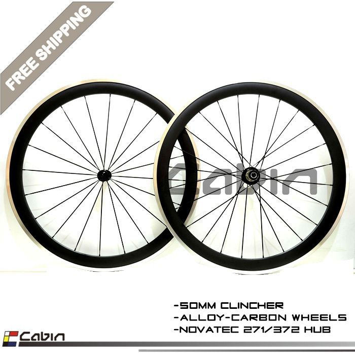 Free Shipping 700c Painting 50mm Clincher Rim Road Bike 3k Carbon Bicycle Wheelset With Alloy Brake Surface Carbon Whee Road Bicycle Bikes Road Bicycle Bicycle
