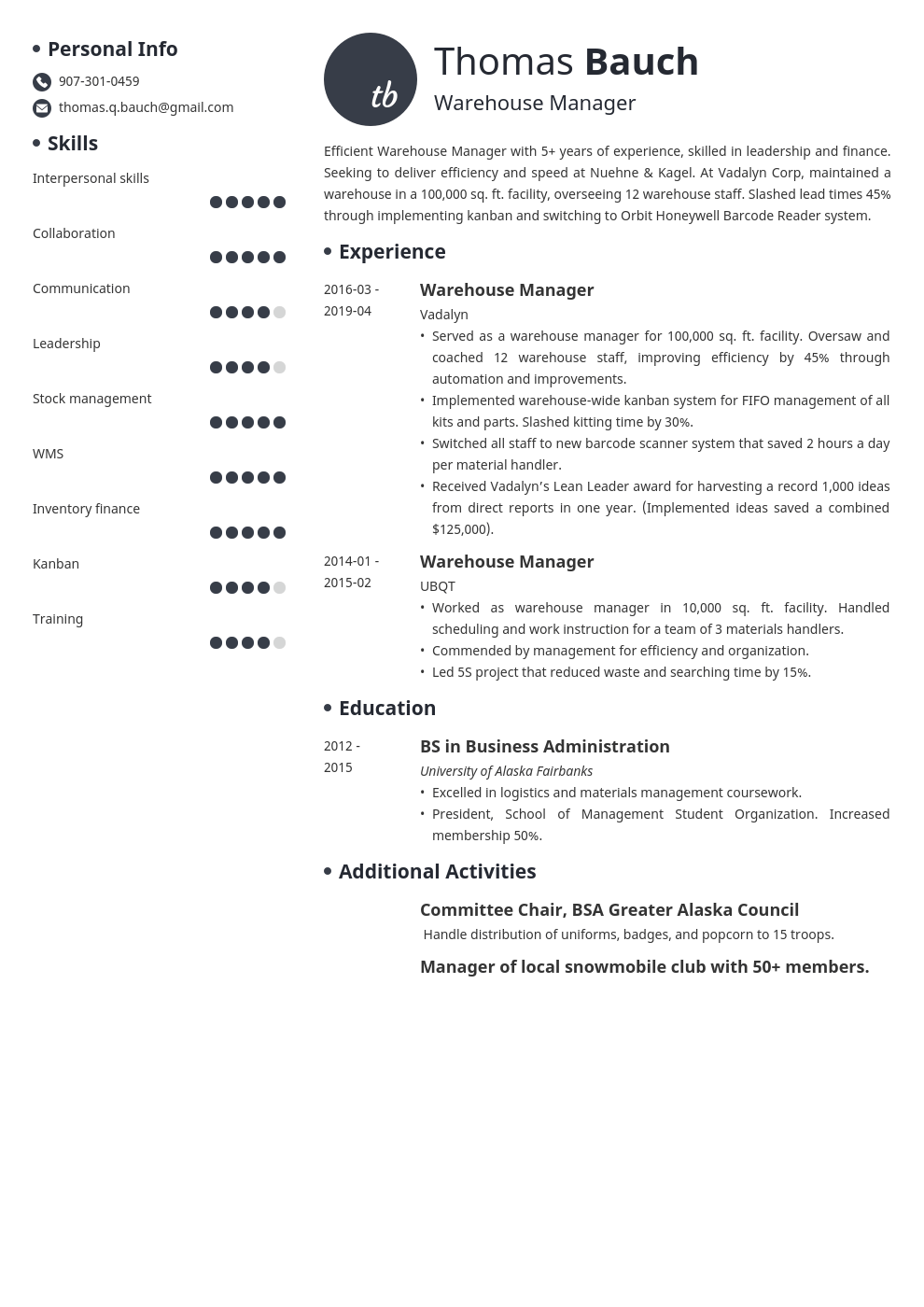 warehouse manager resume example template initials in 2020