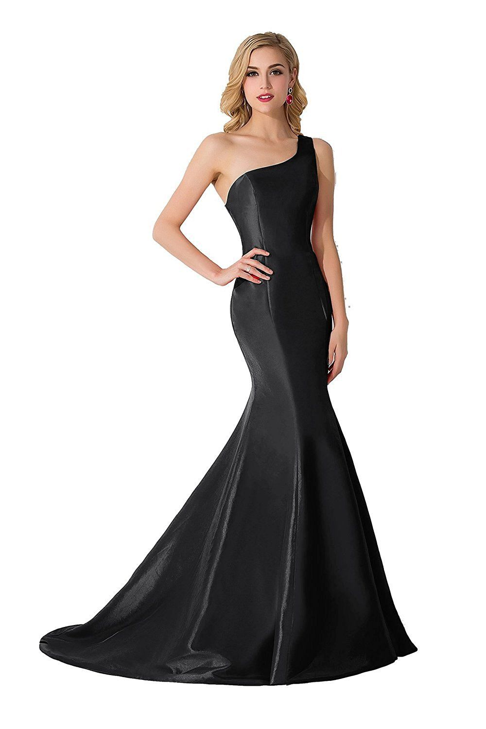 Babyonlinedress one shoulder long mermaid trumpet party gowns