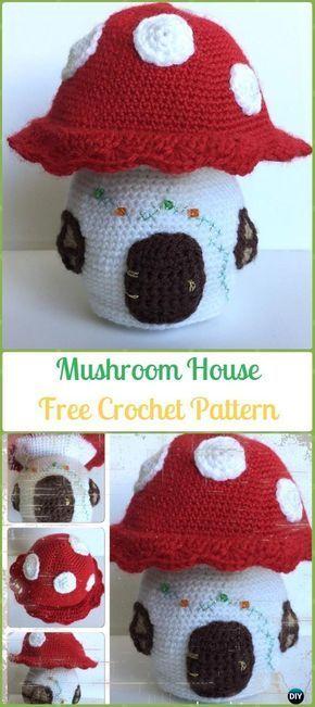 Crochet Mushroom House Amigurumi Free Pattern - Amigurumi Crochet Mushroom Softies Free Patterns