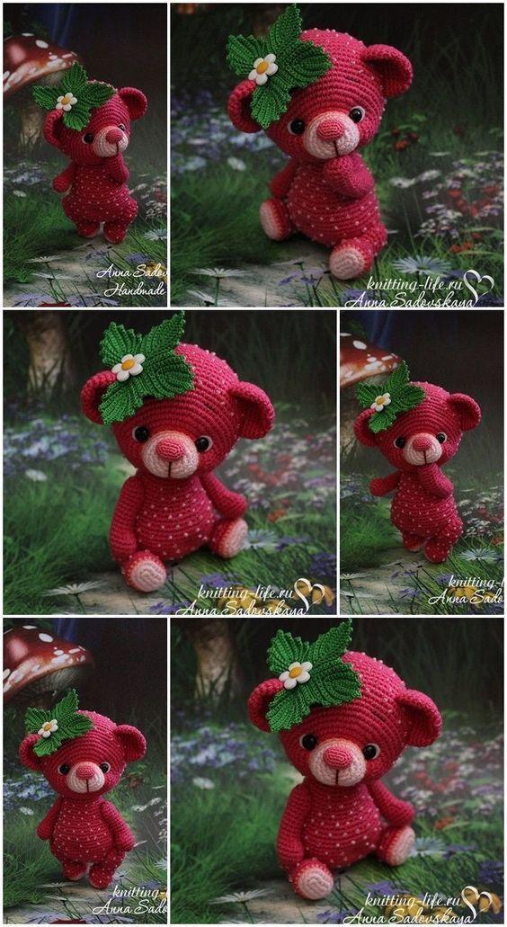 Little Strawberry Amigurumi Teddy Bear