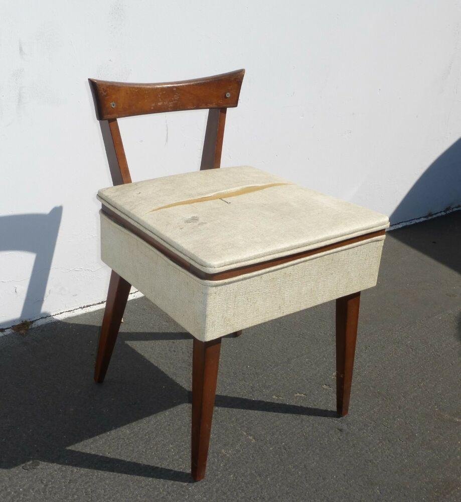 Astonishing Vintage Danish Mid Century Modern Wood Sewing Chair W Seat Theyellowbook Wood Chair Design Ideas Theyellowbookinfo