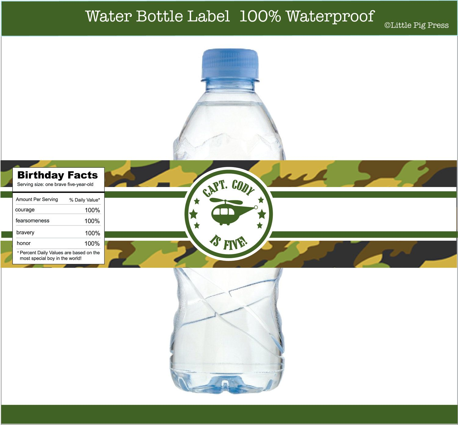 Army Camouflage Birthday Party Personalized Water Bottle Labels