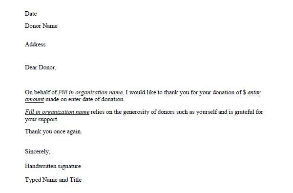 Donation Acknowledgement Letter Sample