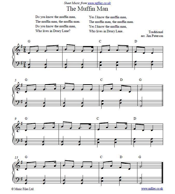 The In Man Nursery Rhyme Easy Sheet Music
