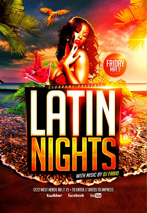 Latin Nights Beach Flyer Templateu2026 flyer1 Pinterest Flyer - movie night flyer template