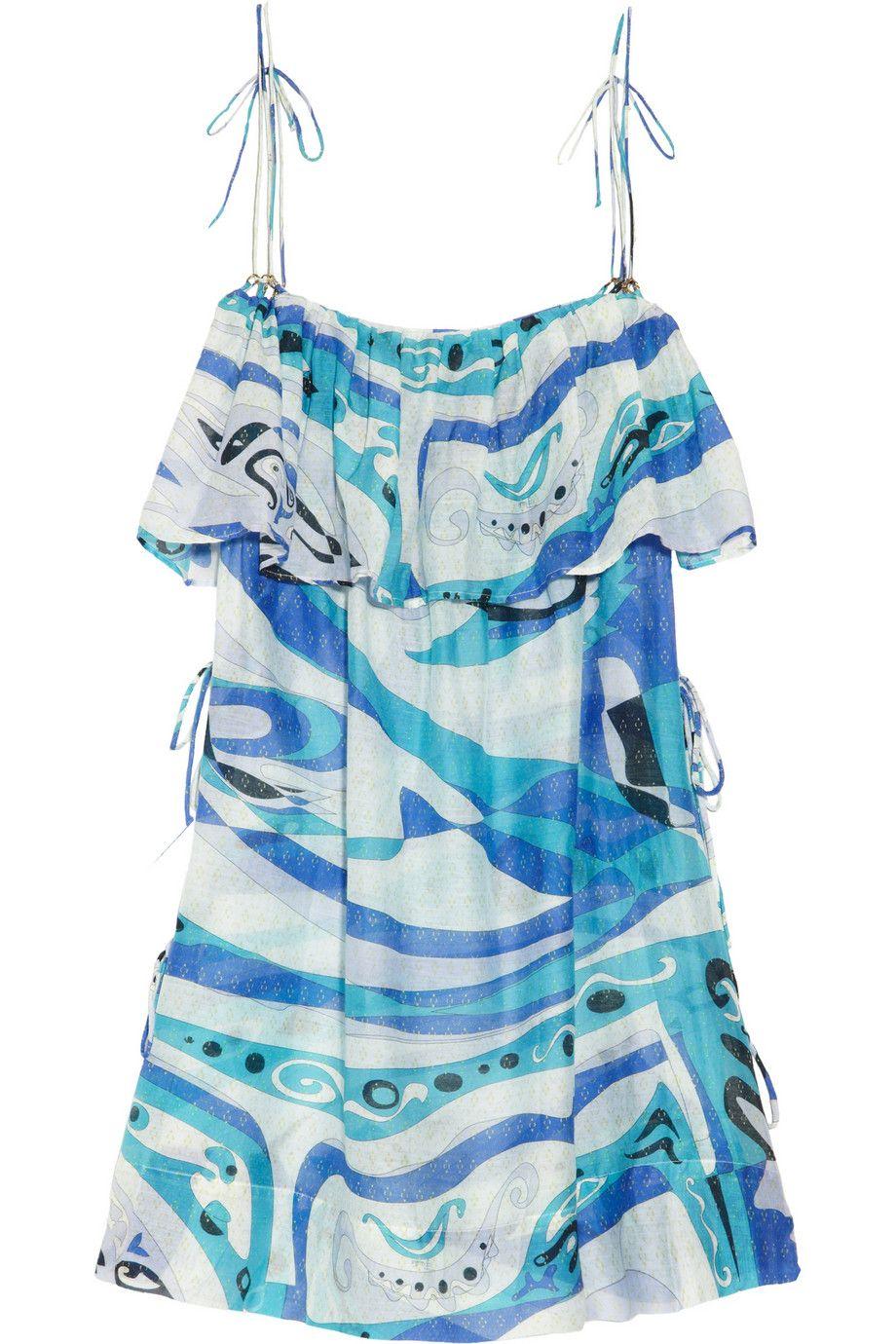 Emilio Pucci|Aracaju printed cotton and silk-blend beach dress |NET-A-PORTER.COM