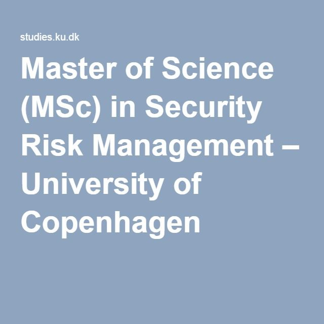 Master of Science (MSc) in Security Risk Management