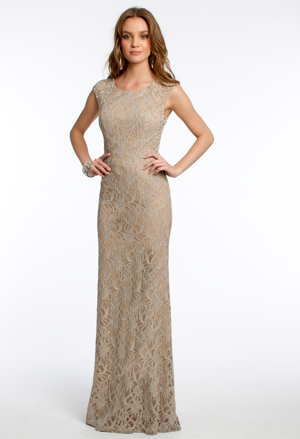 Glitter Lace Illusion Cap Sleeve Dress #camillelavie #CLVprom   PROM ...