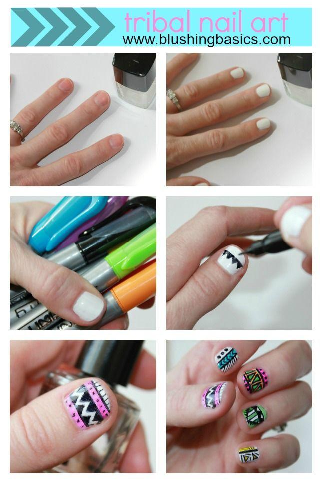 Tribal Nail Art Tutorial | Tribal nails, Nail art diy ...