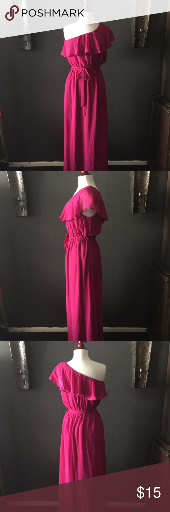 Hot pink maxi dress  Hot Pink Maxi NWOT  Pink maxi Hot pink and Elastic waist