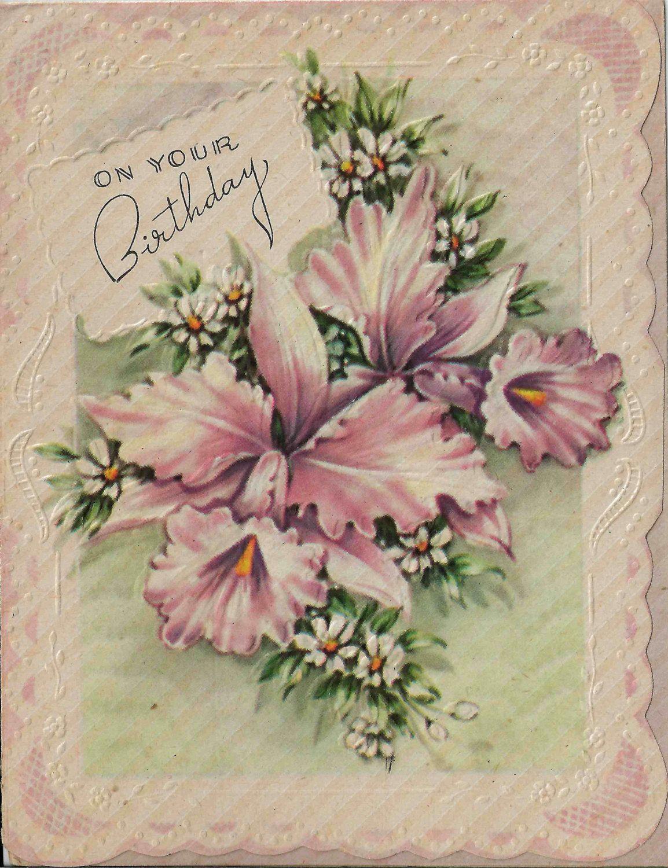 Vintage Birthday Card Die Cut Edges Highlight Lovely Pink Iris