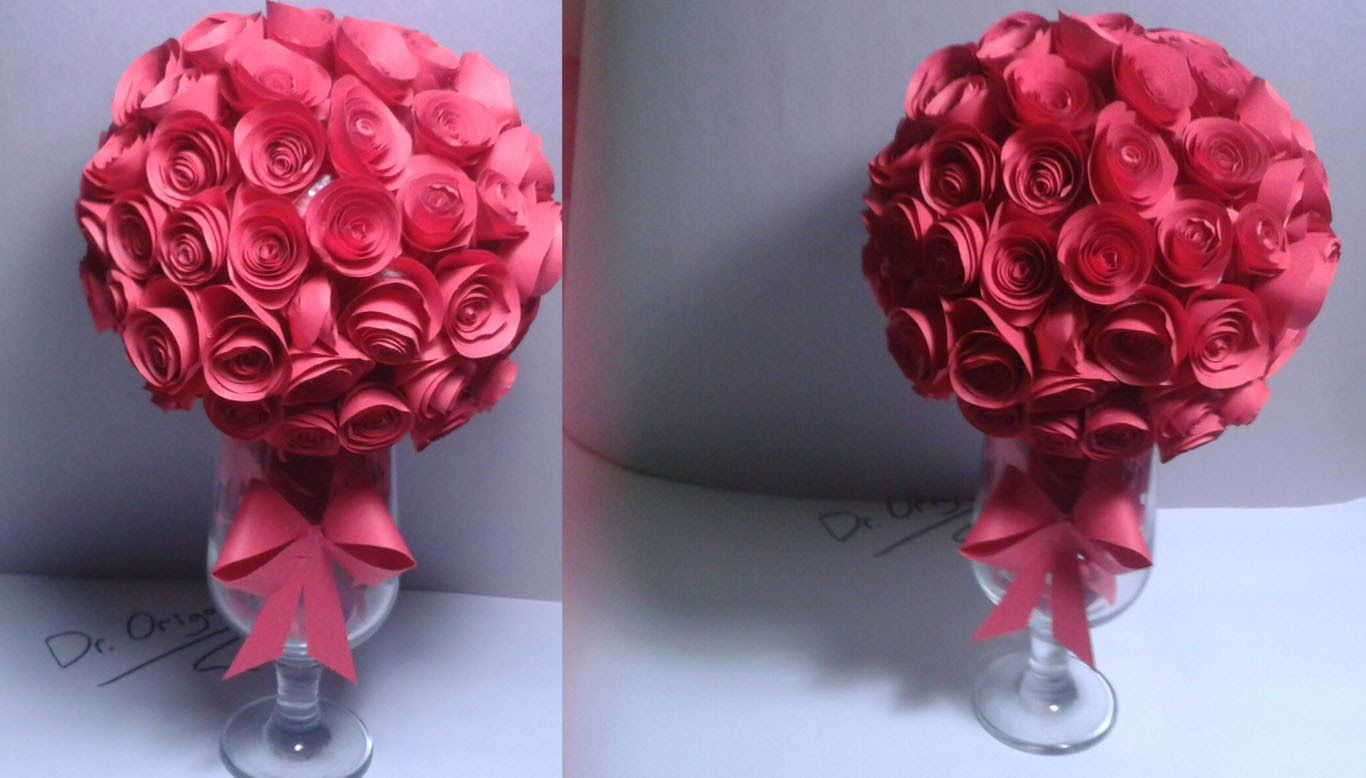 Diy How To Make A Paper Rose Topiary Rose Ball Room Decor Wedding