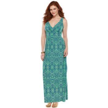 Plus Size Chaps Printed Empire Maxi Dress