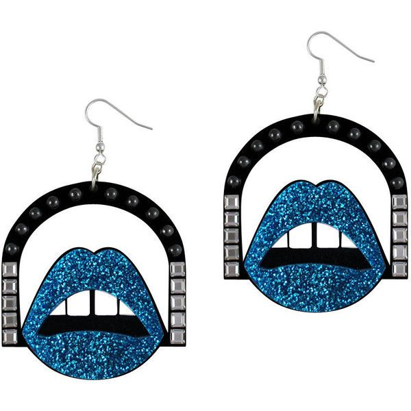 Glitz Glam Blue Diamontrigue Jewelry: Jennifer Loiselle Lips Hoop Perspex Earrings In Blue