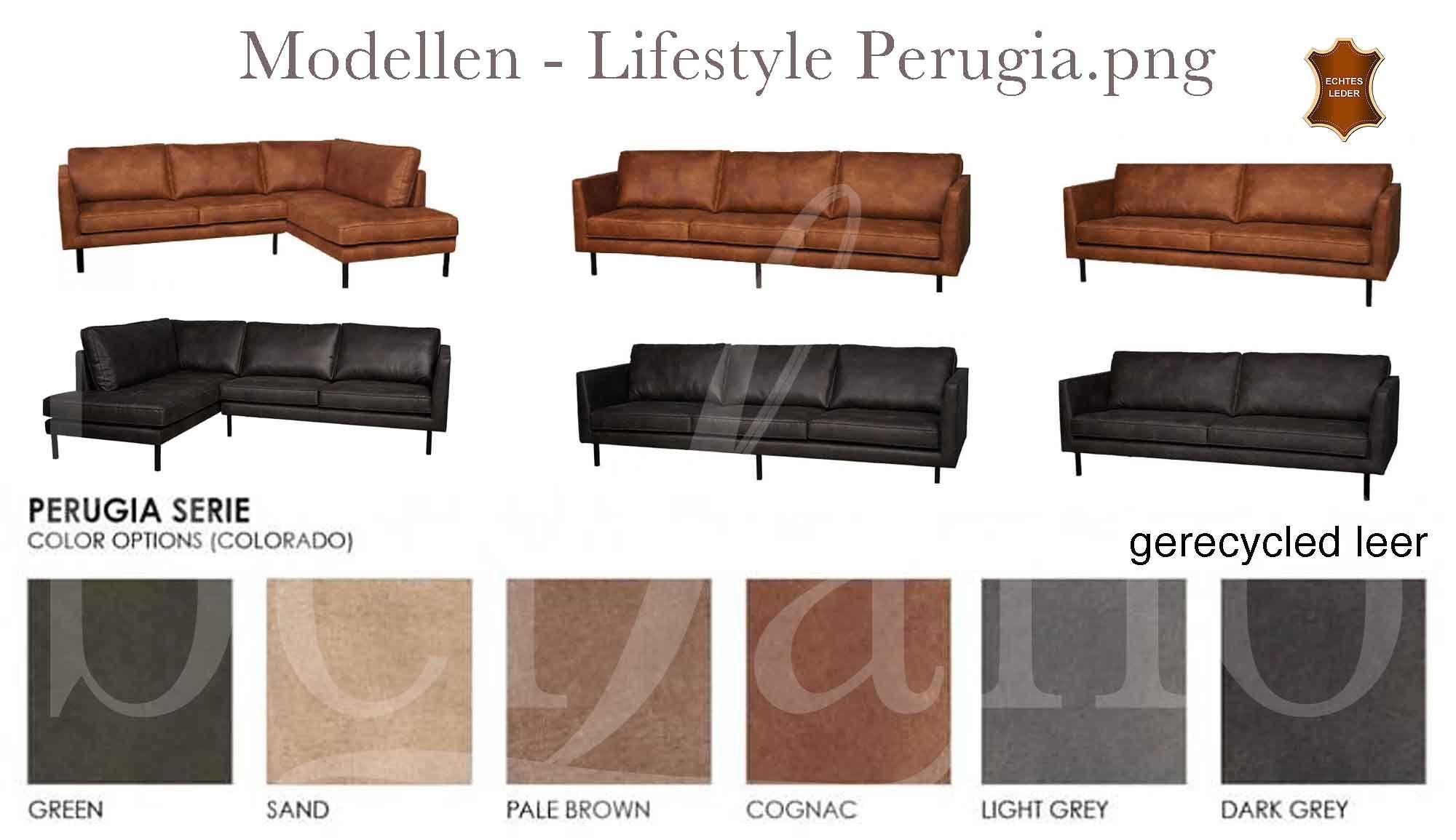 Zandkleurig Leren Bankstel.Lifestyle Perugia Lounge Sofa Leren Bank Grijs Cognac Groen Leer