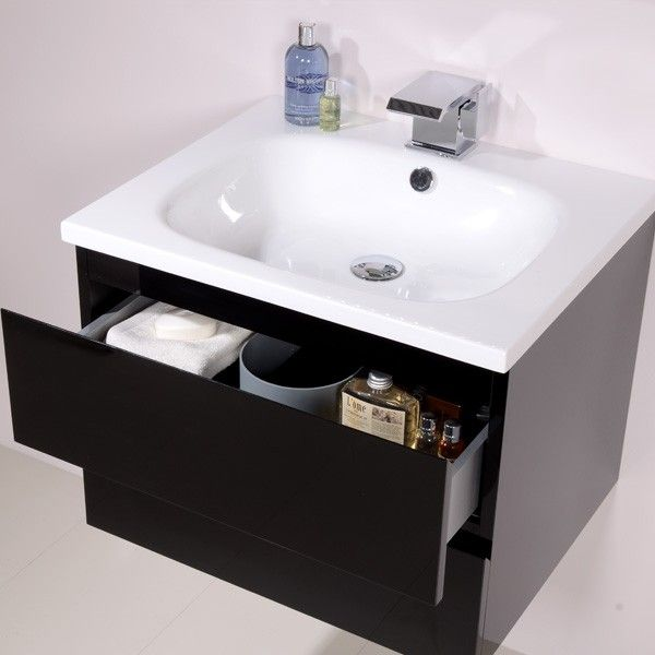 barcelona 600 black vanity unit the barcelona 600mm black gloss vanity unit is a stylish - Bathroom Cabinets Black Gloss