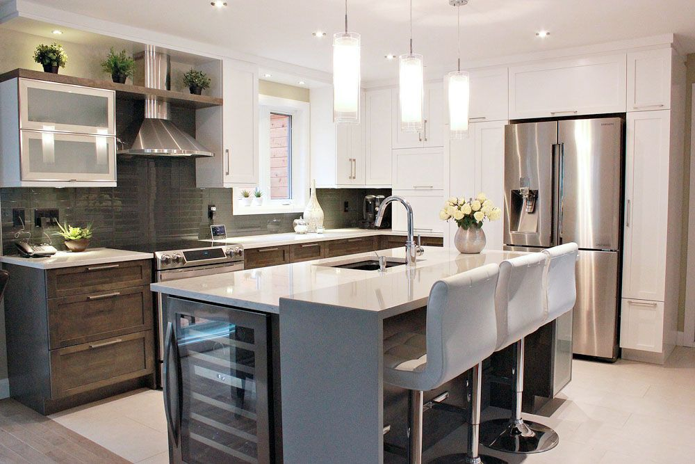 Cuisine contemporaine avec int gration d 39 un cellier dans l 39 lot cuisines pinterest k k - Hotte de cuisine montreal ...