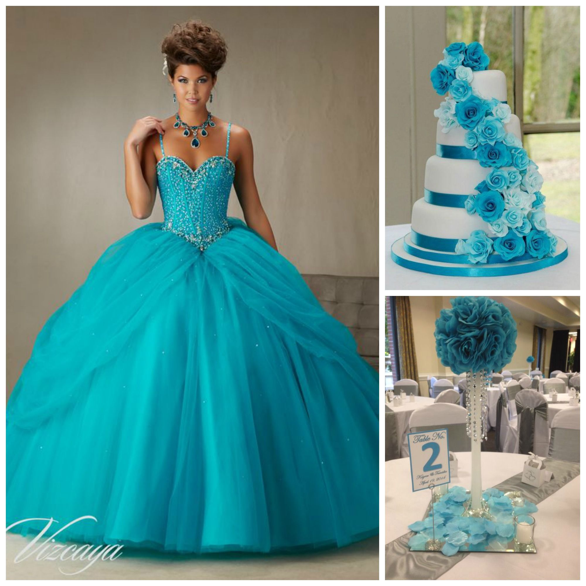 Quince Theme Decorations | Blue centerpieces, Blue cakes and Dress blues