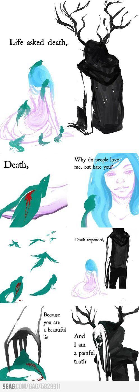 Life & Death - I think I'd like them tattooed somewhere, sitting together. I like this a lot.