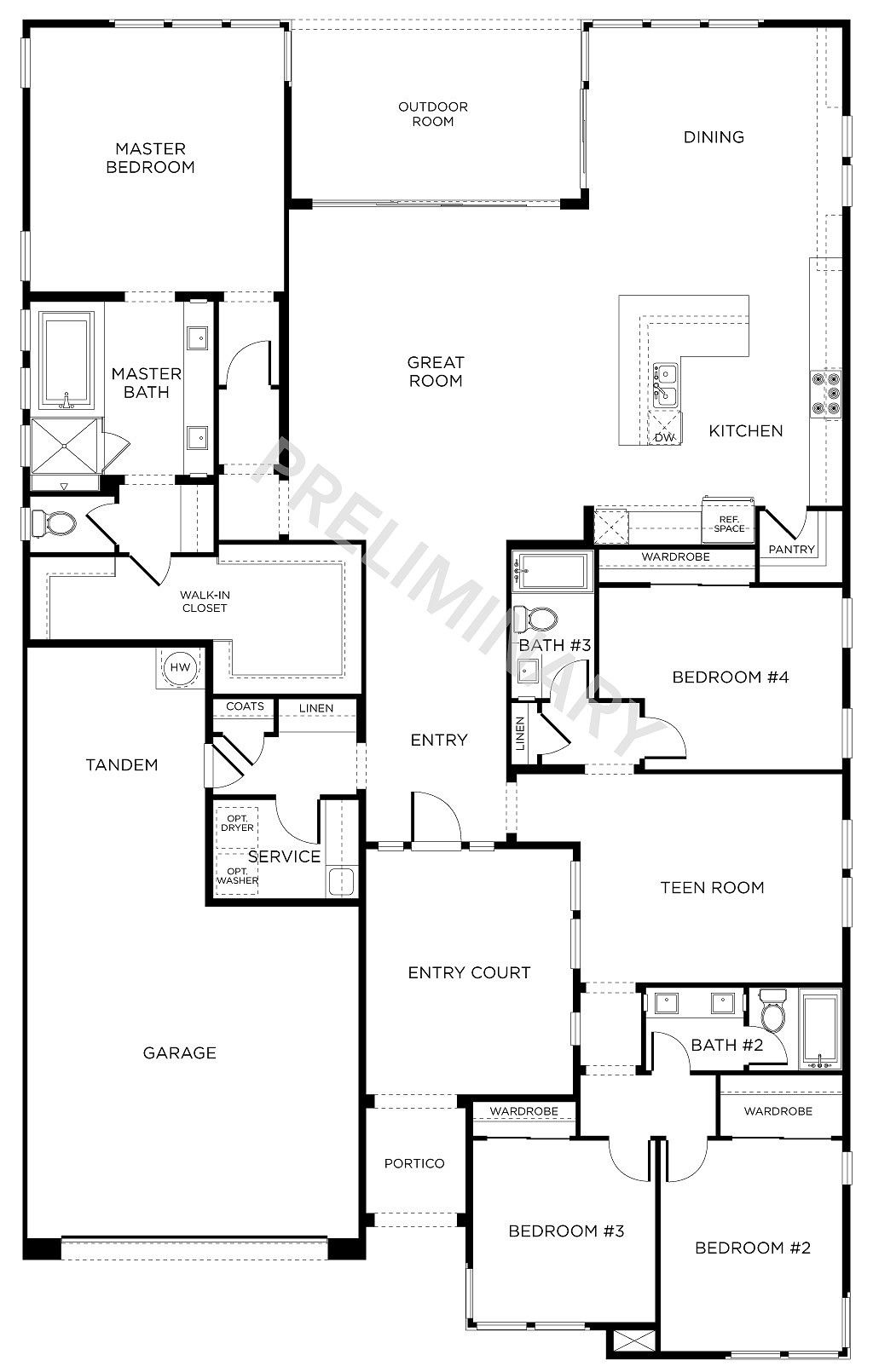Floor Plan 2 4 Beds 3 Baths Single Story New Homes
