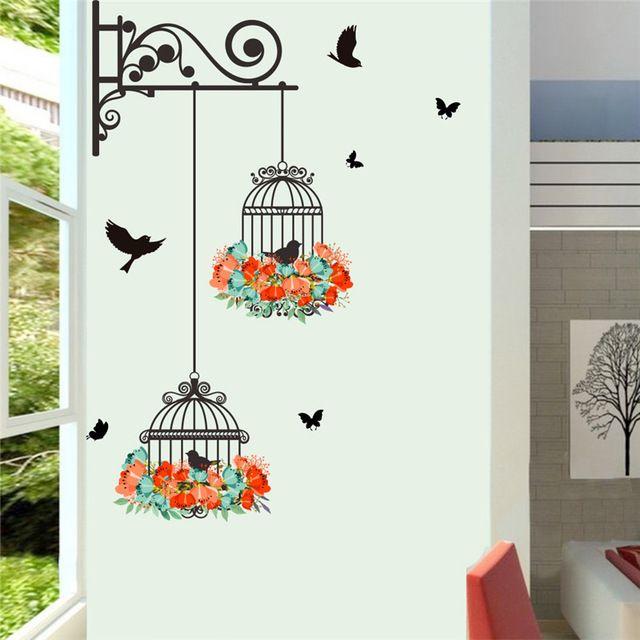 Красочный Цветок птичья клетка стены наклейки наклейки ...