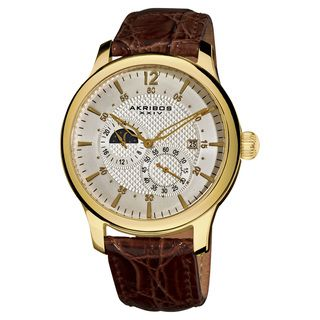 Akribos XXIV Men's Water-Resistant Stainless Steel Automatic Multifunction Strap Watch