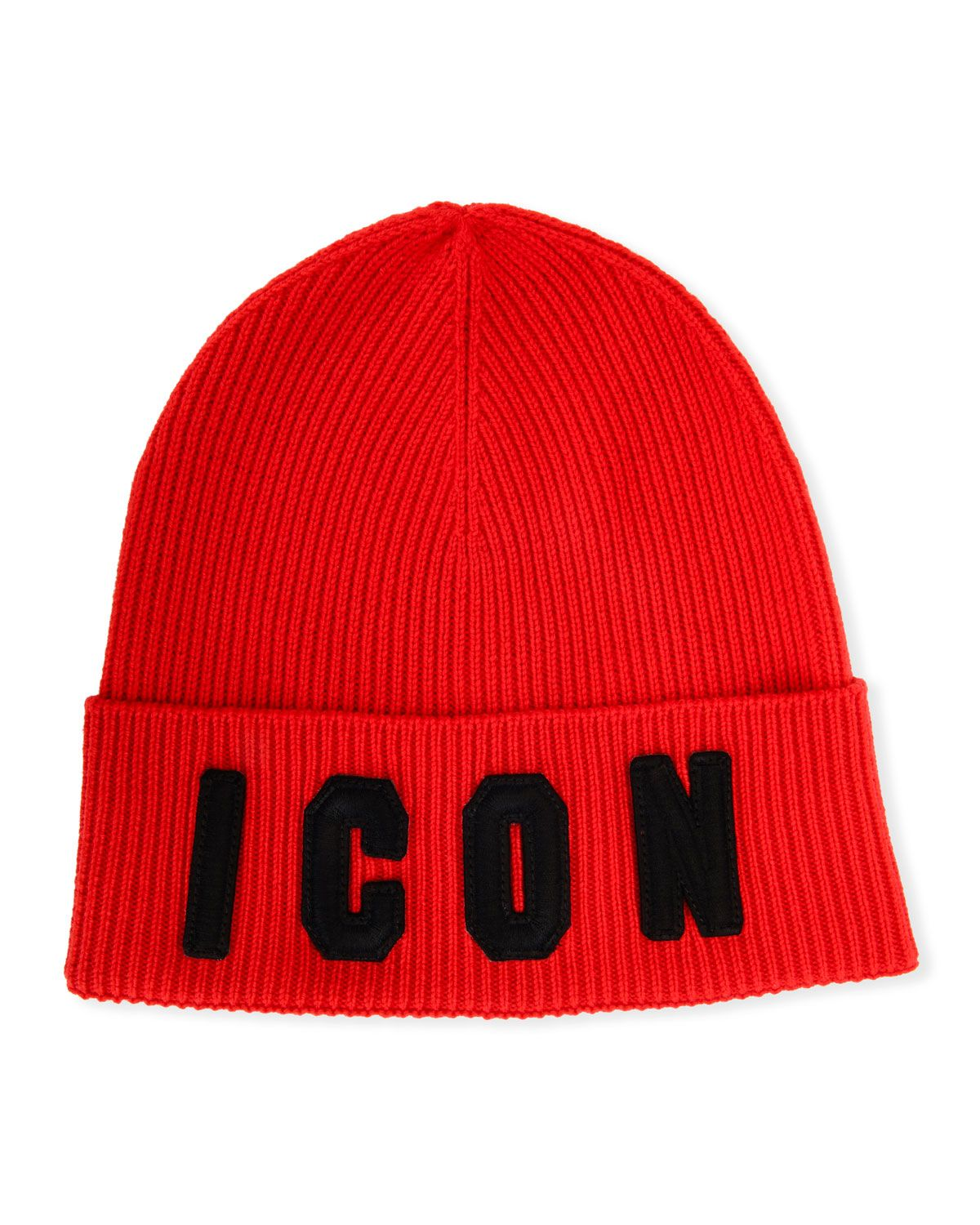 1ed01b7ebe DSQUARED2 MEN'S ICON PATCHED-FRONT WOOL BEANIE HAT, RED/BLACK. #dsquared2