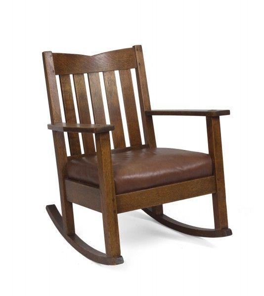 Cool Arts Crafts Oak V Back Rocking Chair Stickley Brandt Pabps2019 Chair Design Images Pabps2019Com