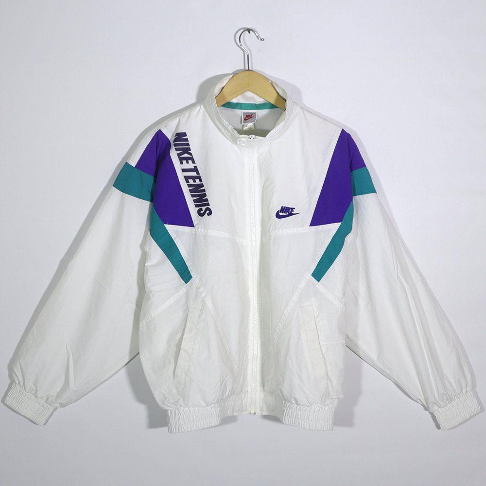 Vintage 90s Nike Tennis Windbreaker Jacket Retro Nike Tennis Pullover Jumper Color Blok White Size L Would In 2020 Windbreaker Windbreaker Jacket Vintage Windbreaker