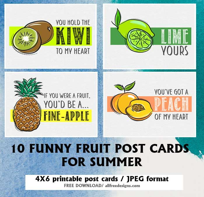 10 Printable Post Cards Featuring Romantic Fruit Puns And