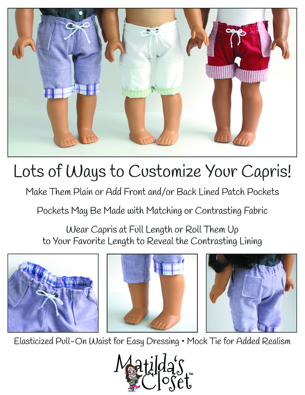 """Denim Jeans With Rolled Up Legs For American Girl Dolls 18/"""" Dolls"""