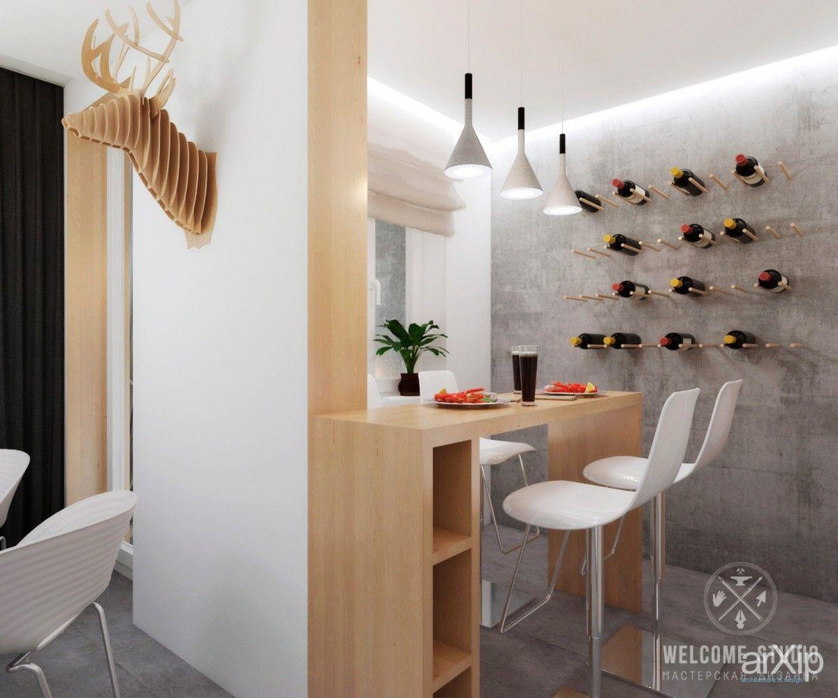 Двухкомнатная квартира «Бетонные джунгли». Кухня: интерьер, зd визуализация, квартира, дом, кухня, современный, модернизм, 10 - 20 м2, интерьер #interiordesign #3dvisualization #apartment #house #kitchen #cuisine #table #cookroom #modern #10_20m2 #interior