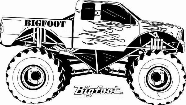 Monster Truck Monster Truck Bigfoot Flames Coloring Page With