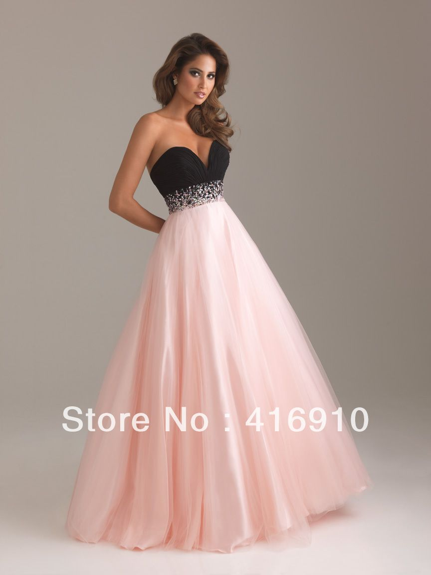 Aliexpress.com   Buy Pink and Black A Line Sweetheart Floor Length Lace Up Prom  Dresses With Sequined and Tulle Free Shipping from Reliable prom dress ... 13f1dd3eed35